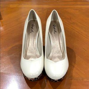 Qupid light beige wedge heel